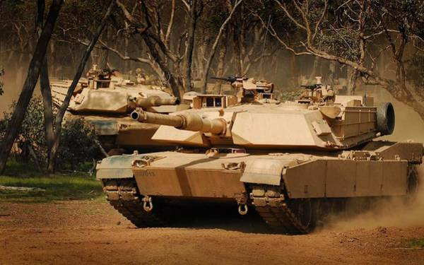 Laser Gun Photograph - M1 Abrams Tanks In Action Upszd by L Brown