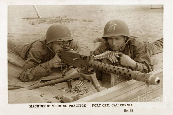 Photograph - M1919a4 .30-caliber Light Machine Gun  Fort Ord Monterey Army Base California 1953 by California Views Archives Mr Pat Hathaway Archives
