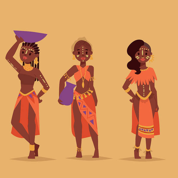 Indigenous Digital Art - Maasai African People In Traditional by Vectormoon