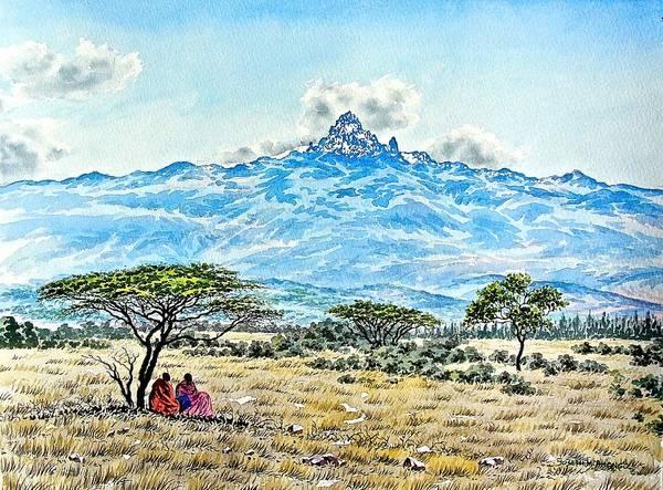 Painting - Maasai At Mountain by Joseph Thiongo