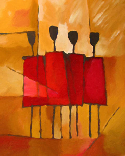 Abstract People Painting - Maasai Group by Lutz Baar
