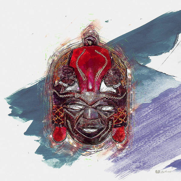 African Tribal Digital Art - Maasai Mask - The Rain God Ngai by Serge Averbukh