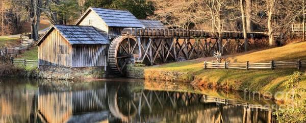 Photograph - Mabry Grist Mill Fall Panorama by Adam Jewell