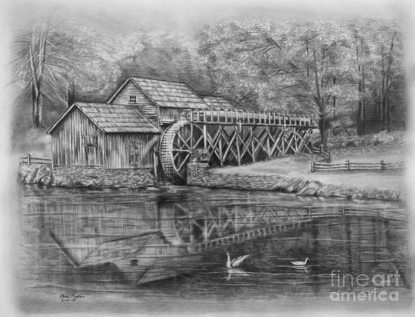 Wetland Drawing - Mabry Mill Pencil Drawing by Lena Auxier