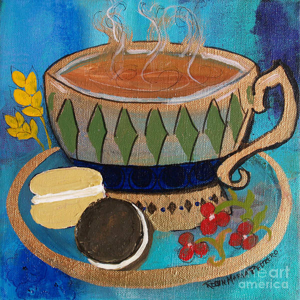 Painting - Macaroons And Tea by Robin Maria Pedrero
