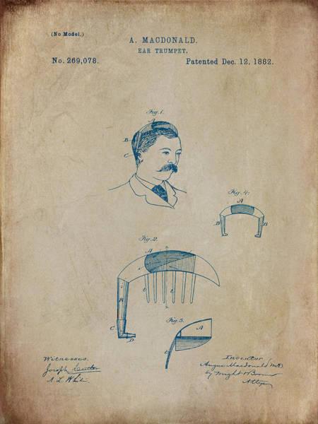 Digital Art - Macdonald Ear Trumpet Patent 1882 - Aged by Paulette B Wright