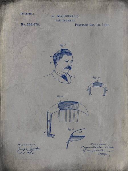 Digital Art - Macdonald Ear Trumpet Patent 1882 - Gray by Paulette B Wright