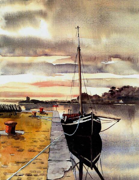 Painting - Macduach Hooker In Kinvara  Galway by Val Byrne