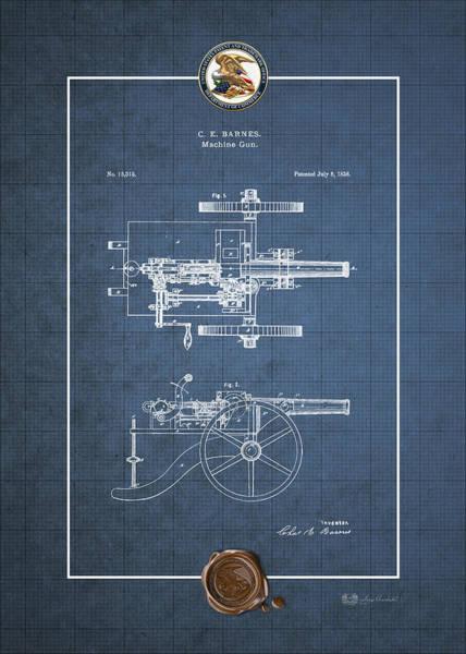 Artillery Digital Art - Machine Gun - Automatic Cannon By C.e. Barnes - Vintage Patent Blueprint by Serge Averbukh