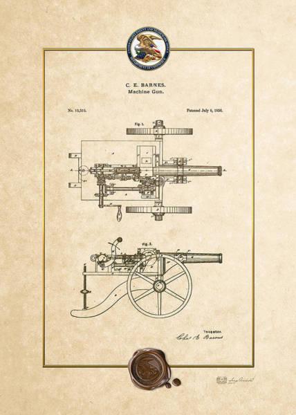 Digital Art - Machine Gun - Automatic Cannon By C.e. Barnes - Vintage Patent Document by Serge Averbukh