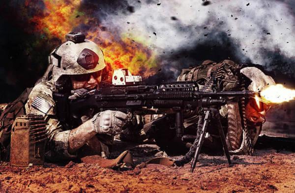 Wall Art - Photograph - Machine Gun Crew Firing Machine Gun by Oleg Zabielin