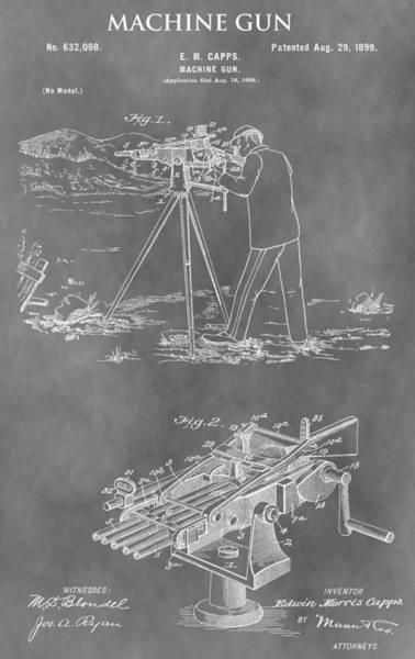Shooting Mixed Media - Machine Gun Patent by Dan Sproul