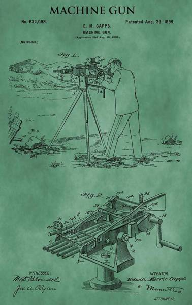 Shooting Mixed Media - Machine Gun Patent Green by Dan Sproul