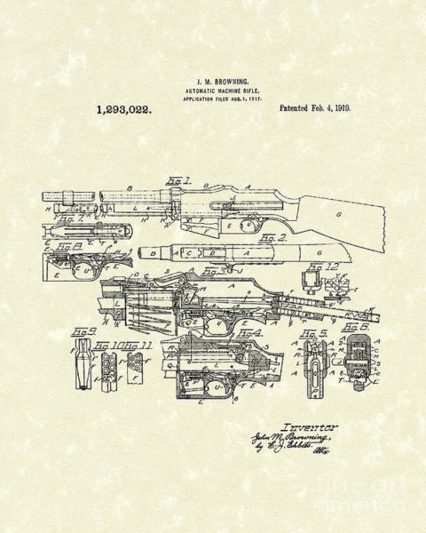 Wall Art - Drawing - Machine Rifle 1919 Patent Art by Prior Art Design