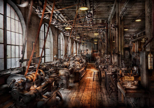 1900 Wall Art - Photograph - Machinist - A Fully Functioning Machine Shop  by Mike Savad