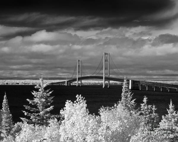 Ir Photograph - Macinac Bridge - Infrared by Larry Carr