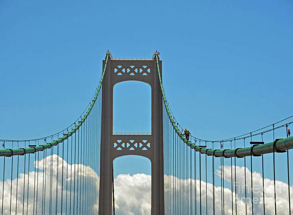 Photograph - Mackinac Bridge And Workers by Randy J Heath