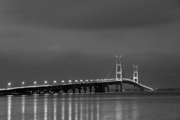 Mackinac Bridge Black And White Art Print