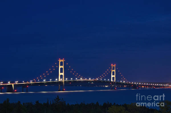 St Ignace Wall Art - Photograph - Mackinac Bridge - D002813 by Daniel Dempster