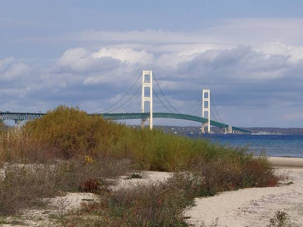 Photograph - Mackinac Bridge From The Shore by Keith Stokes