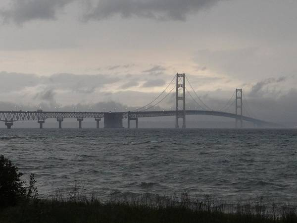 Photograph - Mackinac Bridge In The Rain by Keith Stokes