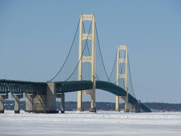 Photograph - Mackinac Bridge In Winter by Keith Stokes