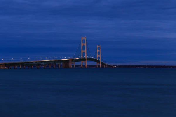 Photograph - Mackinac Bridge Night View by Rachel Cohen