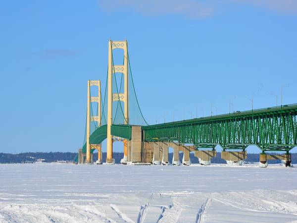 Photograph - Mackinac Bridge On Ice by Keith Stokes