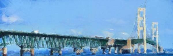 Painting - Mackinac Bridge Panorama Painting by Dan Sproul