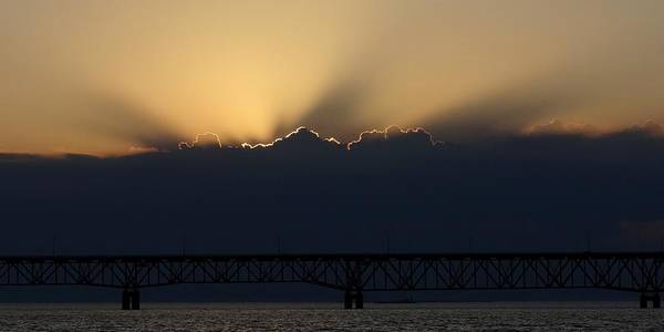 Photograph - Mackinac Bridge Sundown by Keith Stokes