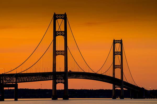 Lake Superior Photograph - Mackinac Bridge Sunset by Steve Gadomski