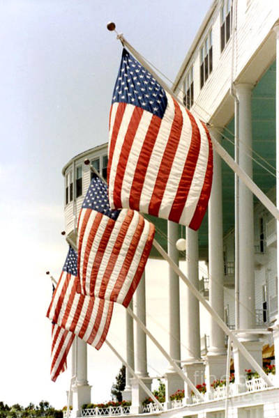 Grand Hotel Photograph - Mackinac Island Michigan - The Grand Hotel - American Flags by Kathy Fornal