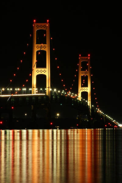 Photograph - Mackinaw Bridge At Night 2 by Scott Hovind