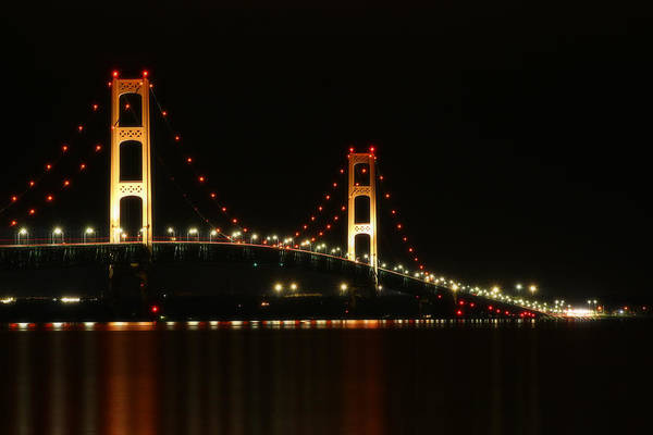Photograph - Mackinaw Bridge At Night 3 by Scott Hovind
