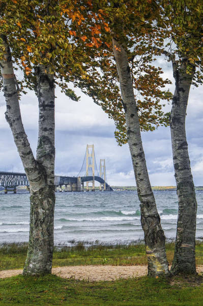 Photograph - Mackinaw Bridge In Autumn By The Straits Of Mackinac by Randall Nyhof
