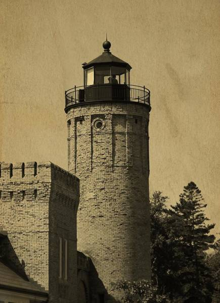 Michilimackinac Wall Art - Photograph - Mackinaw City Lighthouse Postcard by Dan Sproul