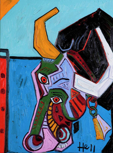 Painting - Mad Cow 24x18 by Hans Magden
