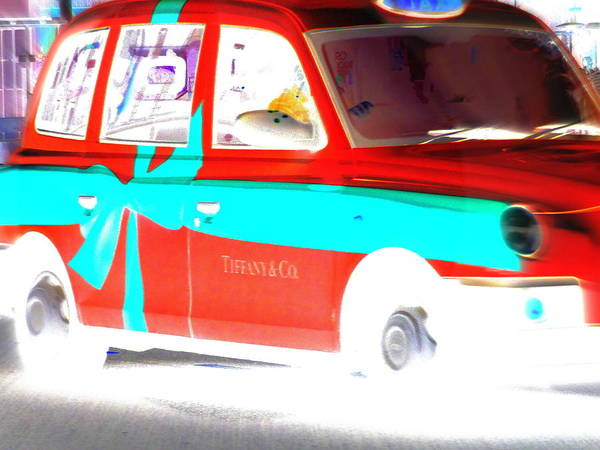 Wall Art - Photograph - Mad Red Tiffany Cab In London   by Funkpix Photo Hunter