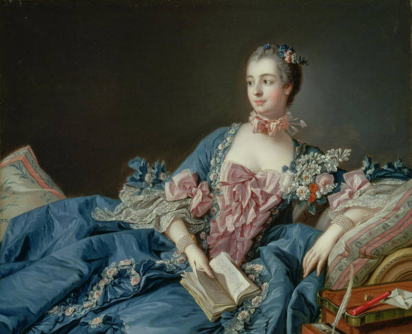 Blue Dress Painting - Madame De Pompadour by Francois Boucher