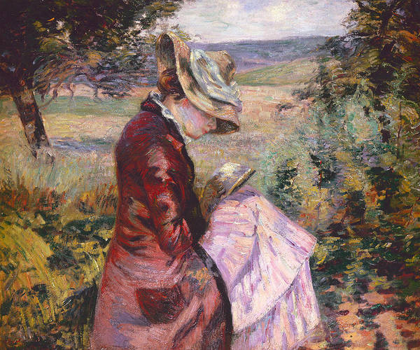 Bonnet Painting - Madame Guillaumin Reading by Jean Baptiste Armand Guillaumin