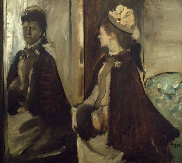 Impressionist Photograph - Madame Jeantaud In The Mirror, C.1875 Oil On Canvas by Edgar Degas