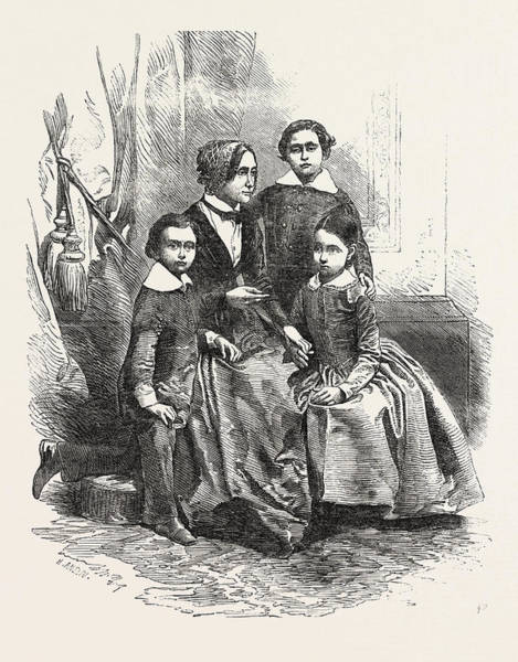 Wall Art - Drawing - Madame Kossuth And Her Children by English School
