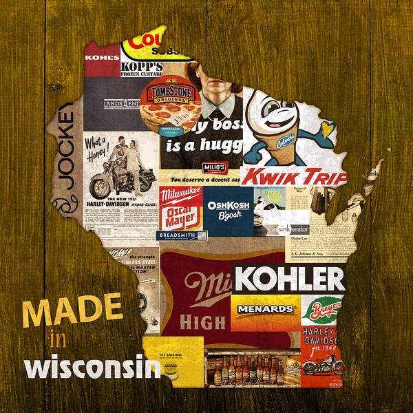 Made In Wall Art - Mixed Media - Made In Wisconsin Products Vintage Map On Wood by Design Turnpike