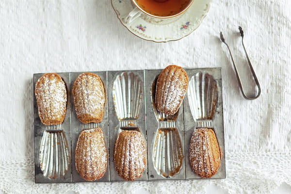 Sponge Photograph - Madeleines With Tea by Ingwervanille