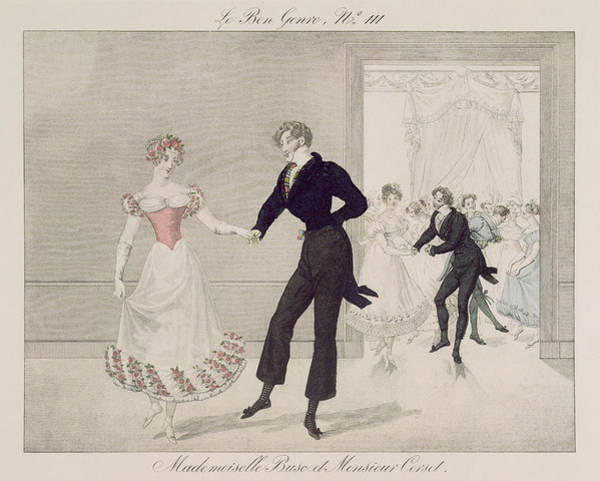 Traditional Dances Drawing - Mademoiselle Busc And Monsieur Corset by French School