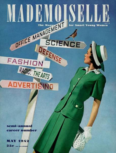 1942 Photograph - Mademoiselle Cover Featuring A Career Girl by Luis Lemus