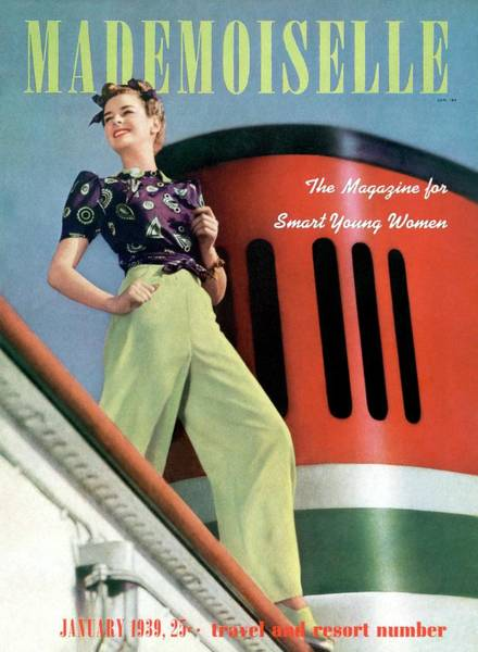 Green Photograph - Mademoiselle Cover Featuring A Model Aboard by Paul D'Ome