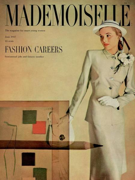 Straw Hat Photograph - Mademoiselle Cover Featuring A Model In A Beige by Gene Fenn