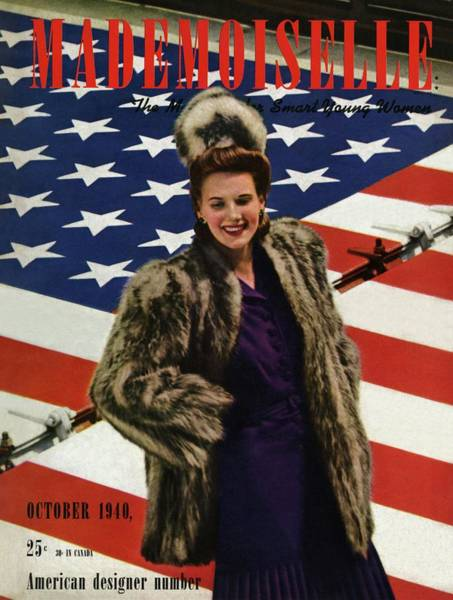 Fur Coat Photograph - Mademoiselle Cover Featuring A Model Standing by Paul D'Ome