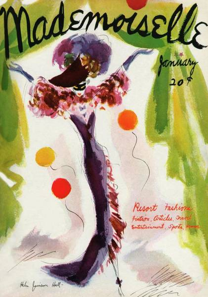 Green Photograph - Mademoiselle Cover Featuring A Model Wearing by Helen Jameson Hall
